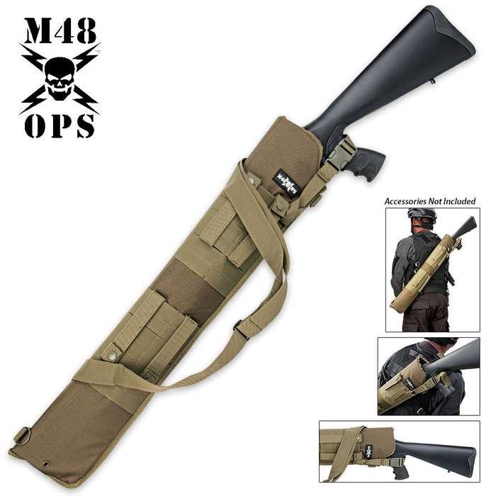 M48 OPS MOLLE Compatible Tactical Shotgun Scabbard OD Green