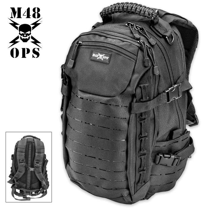 M48 OPS Gatorpack - 2-Day / 25L Tactical Backpack - 3 Laser Cut MOLLE / PALS Panels - 15+ Pockets - Laptop / Hydration Bladder Pockets - Waterproof 600D Polyester - Law Enforcement / Military Grade