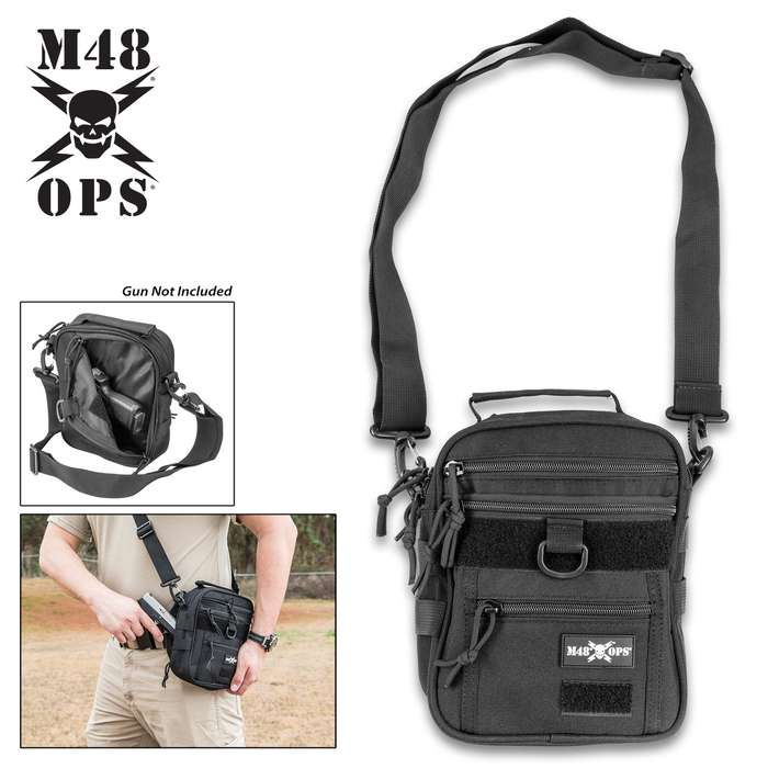 M48 Sentinel Compact Concealed Carry Pistol Sling Pack - Canvas Construction, Secures Two Pistols, Accessory Pockets, Removable Shoulder Strap