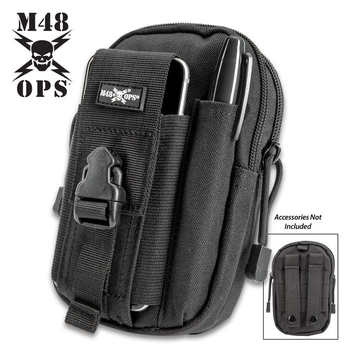"M48 Black Tactical Waist Bag With Phone Case - Heavy-Duty Nylon Construction, Multiple Pockets, Belt Straps, MOLLE - 7 1/4""x 4 3/4"""