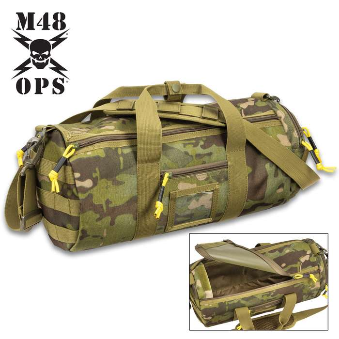 """M48 Military-Style Duffel Bag - Polyester Construction, Nylon Lining, Double-Zipper Top, Adjustable Shoulder Strap - Dimensions 17""""x 7"""""""