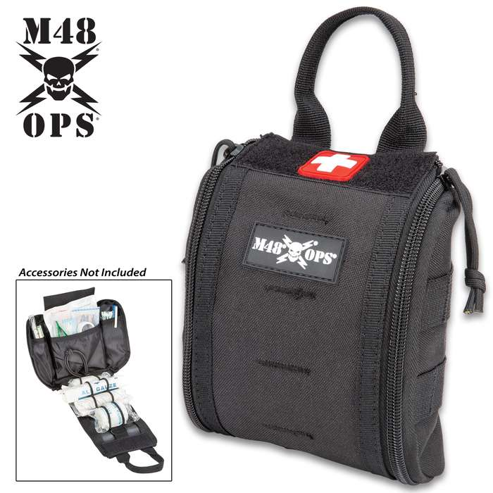 "M48 Medical Pouch - 600D Polyester Construction, MOLLE Webbing, Double Zipper Closure, Inside Bungee Cord System - Dimensions 6 1/2""x 6"""