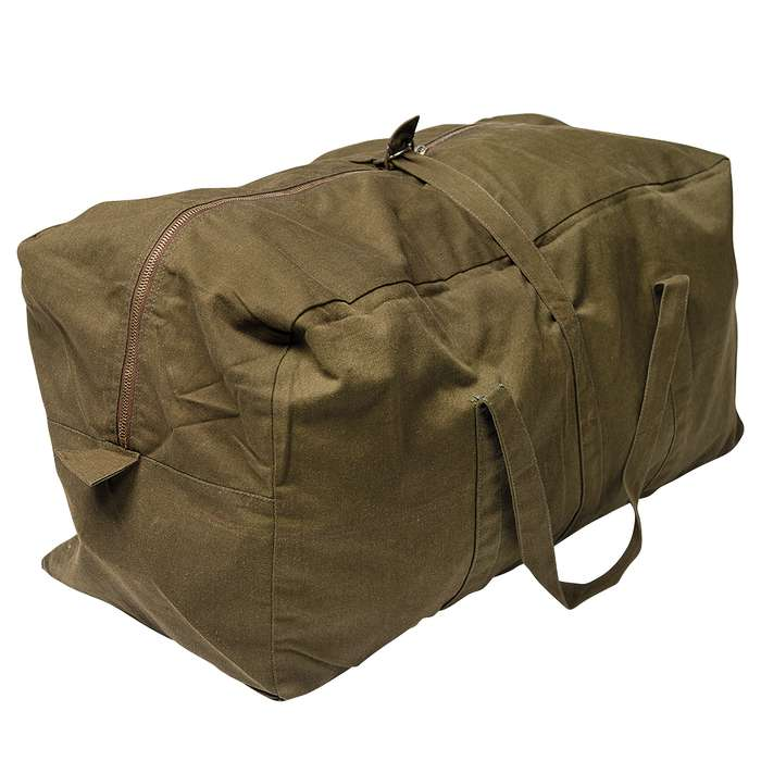 """Czech Military Surplus Pilot Duffel Bag - Olive Drab / OD Green - Heavyweight Cotton Canvas - Outdoors, Travel, Overnight, Home, Survival, Emergency, Bug-Out, Tactical - 24"""" x 12"""" x 10"""""""