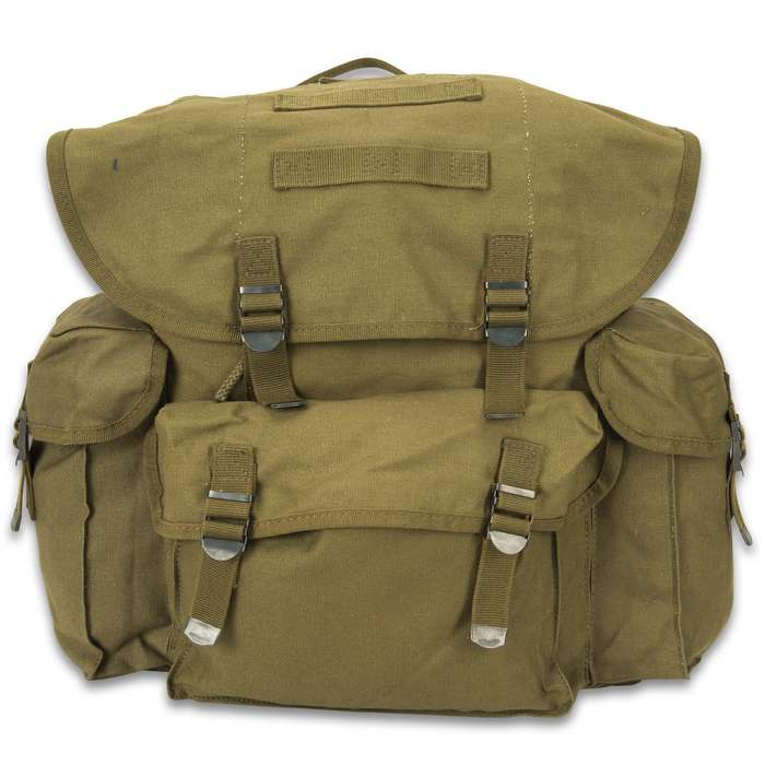 The spacious Mil-Tec NATO Rucksack is 100-percent cotton, olive drab canvas with nylon webbing straps and buckles and a drawstring top