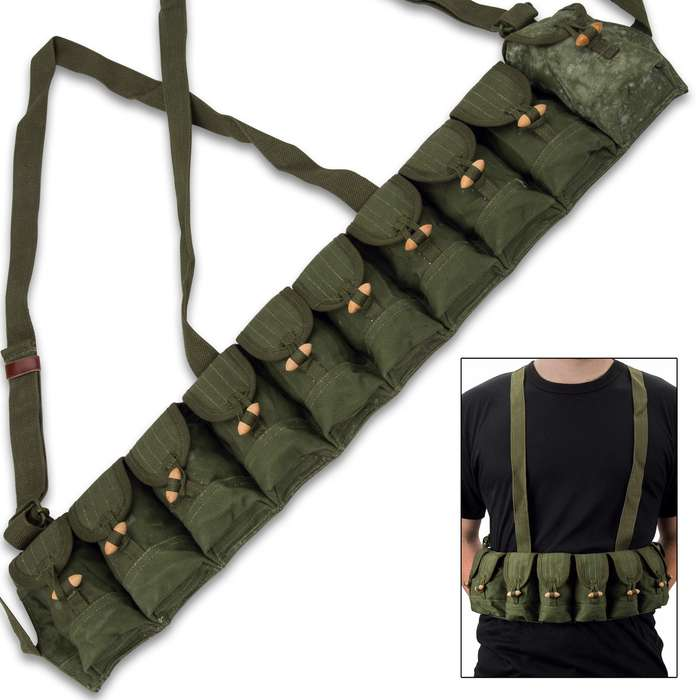 The Viet Cong Bandolier is a used condition, military surplus item that will make a great addition to your shooting gear