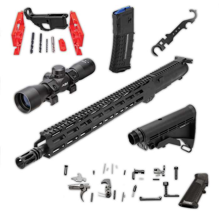 AR-15 Complete Build Kit - DIY Rifle Assembly - 80 Percent Lower - Complete Upper Receiver