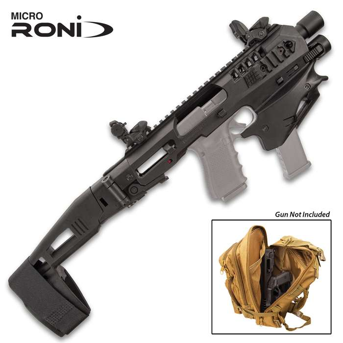 Micro Roni Advanced Micro Conversion Glock Kit - Polymer Body, Aluminum Barrel Shroud, Extended Stabilizer, Picatinny Rails, Flashlight, One-Point Sling