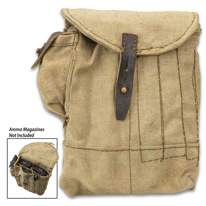 Romanian Four-Pocket AK-47 Mag Pouch - Fits 30-Round Magazines, Military Surplus, Flexible Leather, Belt Loops