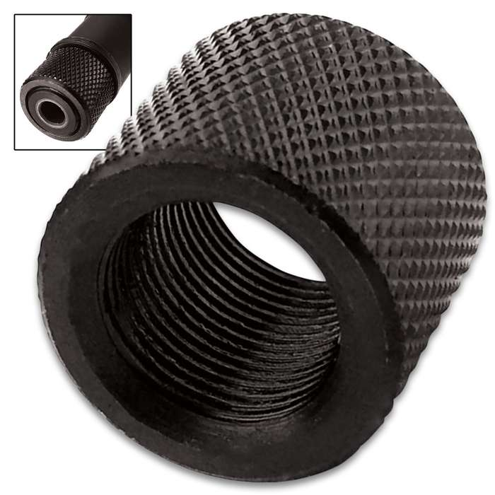 "1/2-28 RH Fluted Thread Protector - For AR-15 Threads, Black Oxidized Steel Construction, Dimensions 5/8"" X 7/10"""