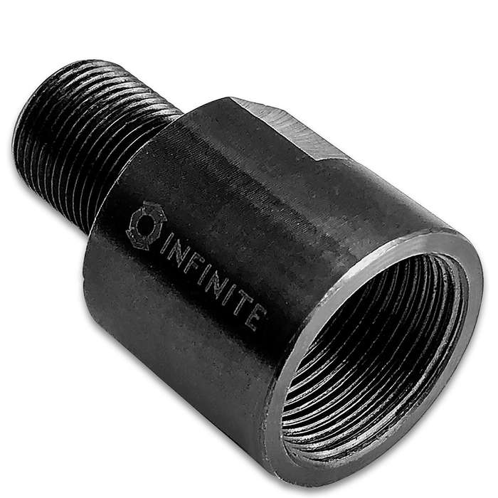 Easily convert those 18mm x 1 RH barrel threads to your favorite 1/2-28 RH accessories