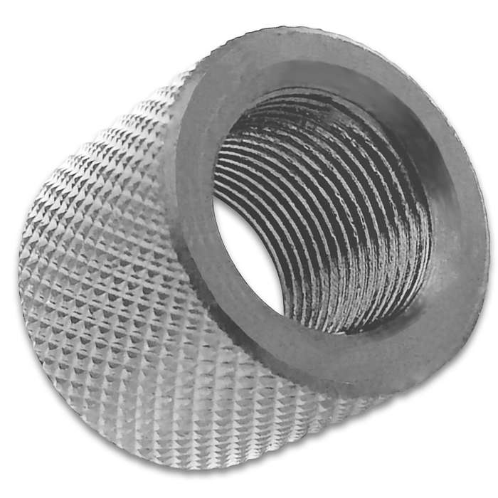 "Protect your 1/2""-28 RH pistol (or pistol adapter) threads with this knurled thread protector for years"