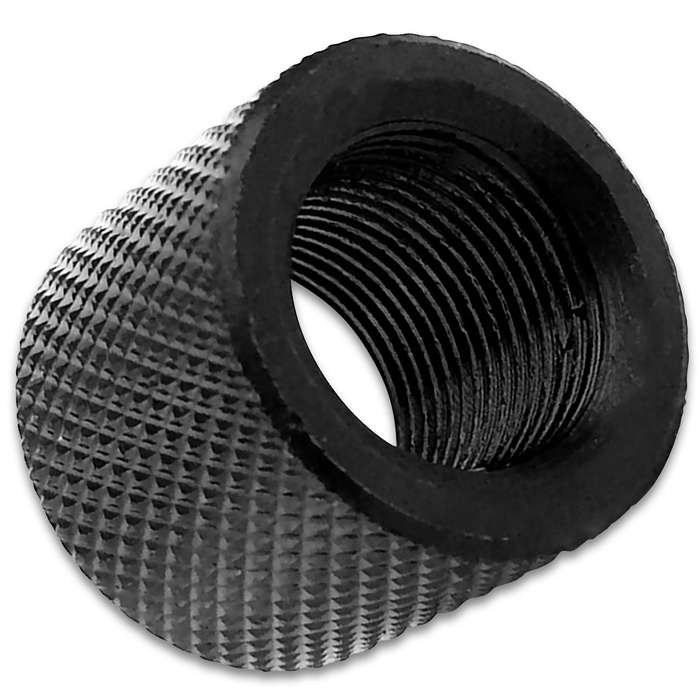 """Protect your 1/2""""-28 RH pistol (or pistol adapter) threads with this knurled thread protector for years"""