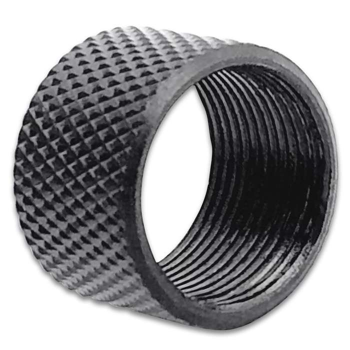 "Easily protect your 9/16""-24 RH pistol threads with this premium knurled thread protector for years to come"