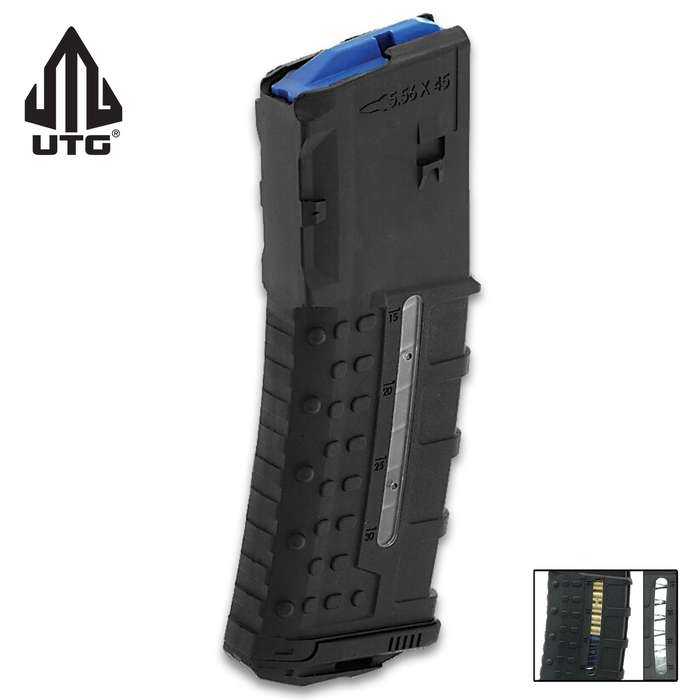 AR-15 Side-Windowed Magazine - .223/5.56, 30-Round, Polymer Construction, Capacity Markings, Stainless Steel Spring