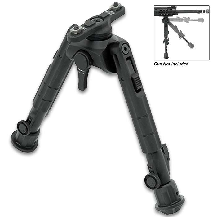 The M-LOK bipod features a fine-tunable, tension adjustment lever that applies the user desired amount of tension