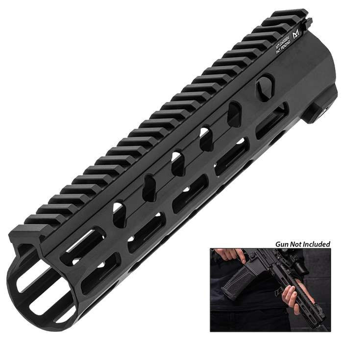 It features 15 M-LOK slots across three slot tracks for mounting accessories, with an additional four slots at the front