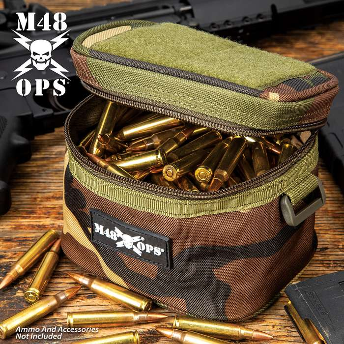 "M48 Soft-Side Camouflage Ammo Bang Box - 600D Polyester Construction, Zipper Closure, ABS Loop On Each Side - Dimensions 5 1/4""x 4 1/4"""