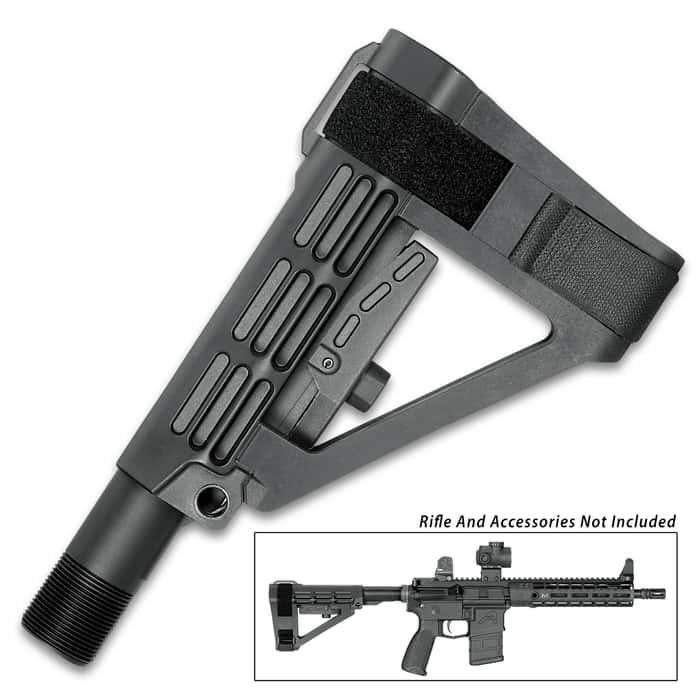 Gun Stabilizing Arm Brace - Five Position Adjustable, Ambidextrous, Carbine Receiver Extension, Included Nylon Strap