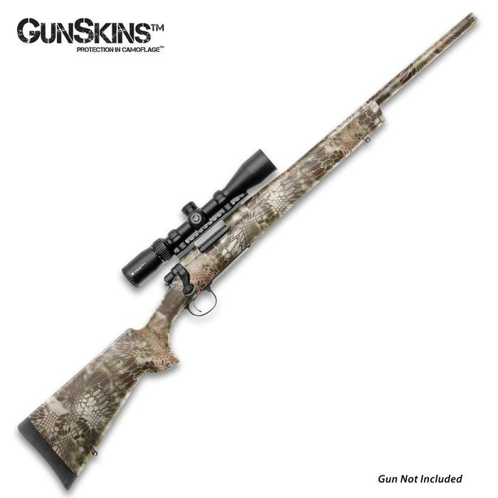 The GunSkins Kryptek Highlander Rifle Skin is a universal kit, designed to fit any rifle with a barrel length up to 29""