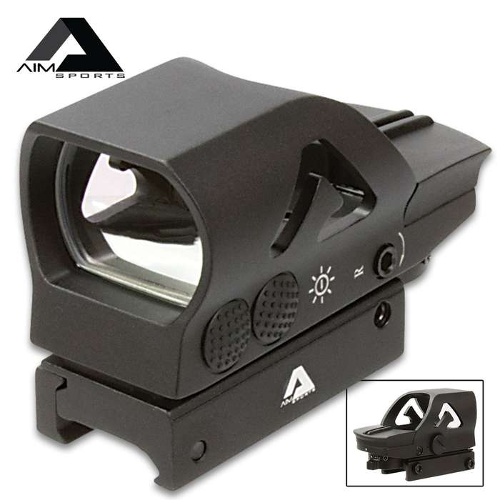 AIMS Full Sized Reflex Sight - 1X34MM, Aluminum Body, Four Reticle Patterns, Push Button Illumination, Picatinny Mounting System