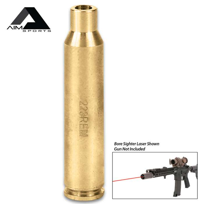 AIMS .223 Rem Laser Bore Sighter - Brass Construction, Red Laser, 5mW Power, 635/655NM Wavelength, Weighs 1.5 Oz