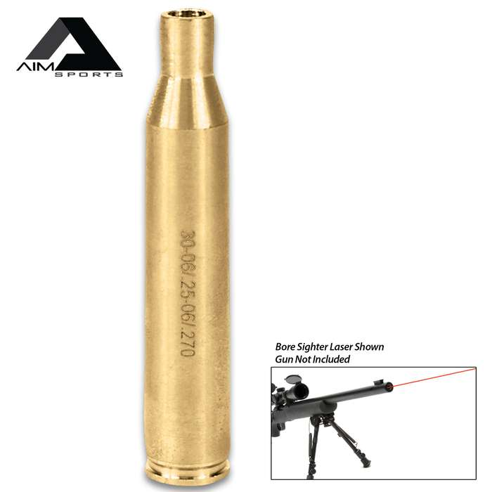 AIMS .30-06/.25-06/.270 Laser Bore Sighter - Brass Construction, Red Laser, 5mW Power, 635/655NM Wavelength, Weighs 1.5 Oz