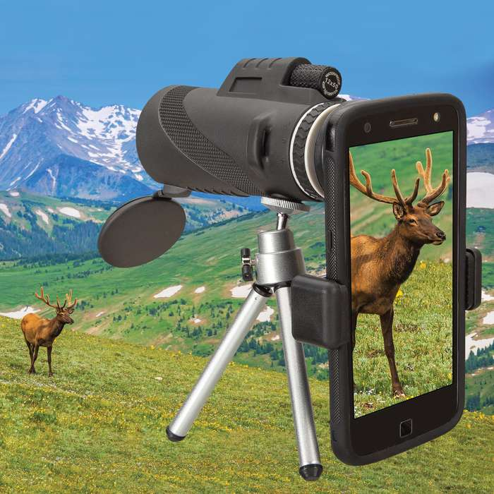 Monocular Telescope For Cell Phone With Tripod - 12X50, Night Vision, Water-Resistant, High-Definition Images, Lens Cover