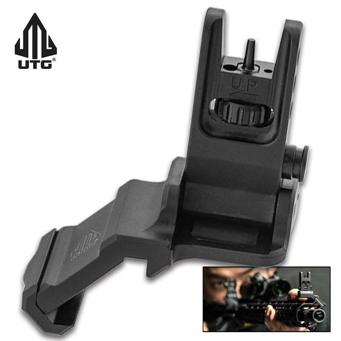 The front sight utilizes a single locking Torx screw with a low-profile mounting base and a square-shaped integral recoil sto