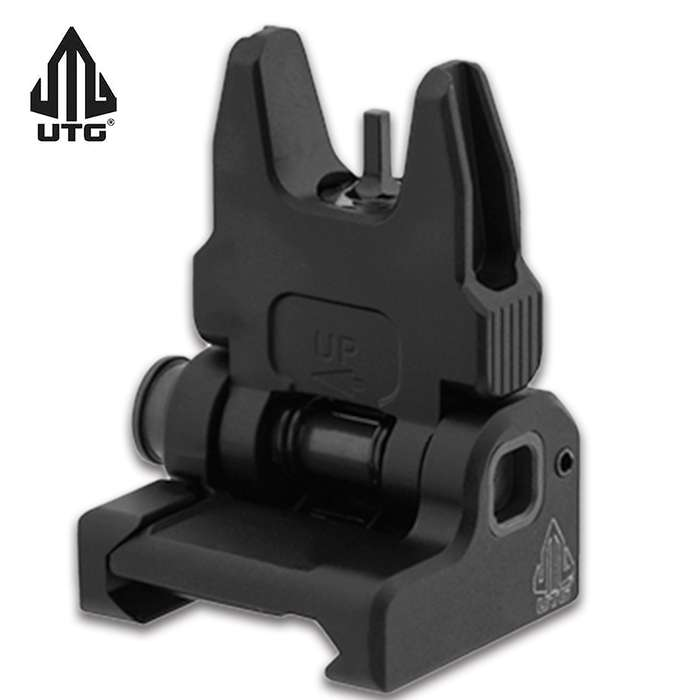 The front sight utilizes a single locking Torx screw with a low-profile mounting base and a square-shaped integral recoil stop