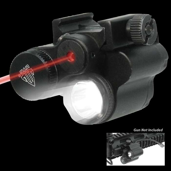 The red laser/flashlight combo can be used on any Picatinny rail and offers a powerful 120-lumen, area-flooding LED performance