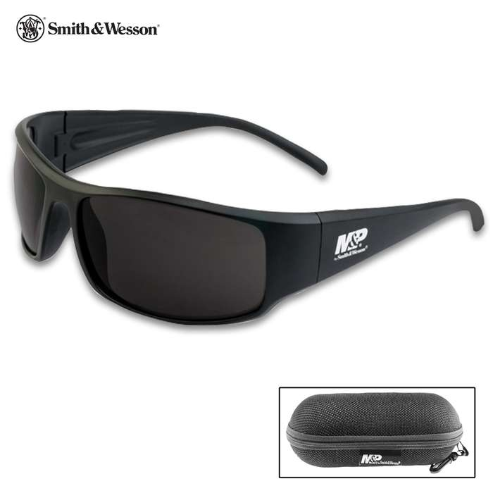 M&P Thunderbolt Shooting Glasses - Smoke Colored Lenses, Full Frame, Stylish And Comfortable, Includes Case