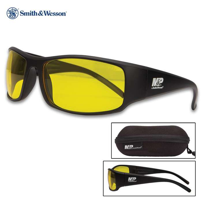 M&P Thunderbolt Black Glasses With Amber Lens - Full-Frame, Non-Slip Rubber Nose And Ear Pieces