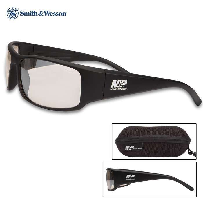 M&P Thunderbolt Black Glasses With Clear Mirror Lens - Full-Frame, Non-Slip Rubber Nose And Ear Pieces