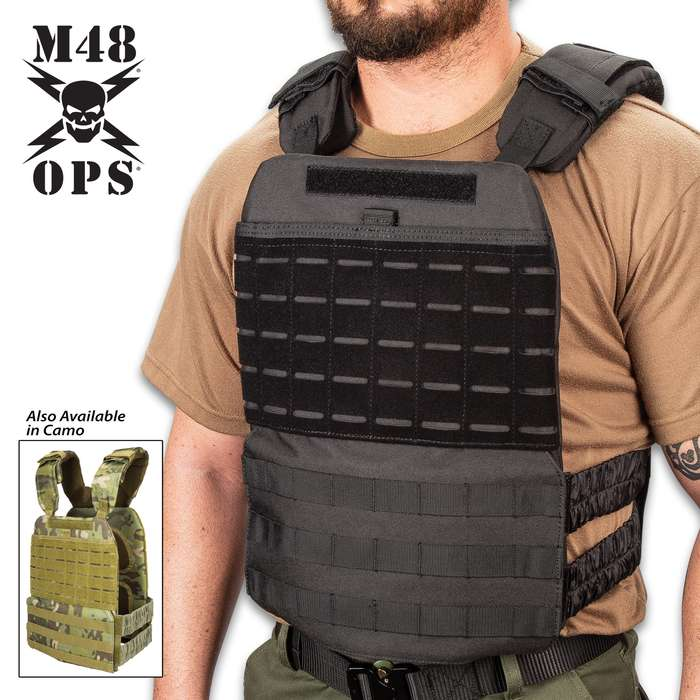 M48 Laser Cut Tactical Plate Carrier Vest - 600D Oxford Material, Inside Padding, MOLLE Webbing, One-Size Fits All