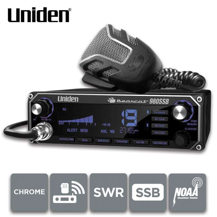 The Bearcat 980SSB CB Radio comes with a large, 7-color easy-to-read digital display and an illuminated control panel that's easy to use in all lighting conditions