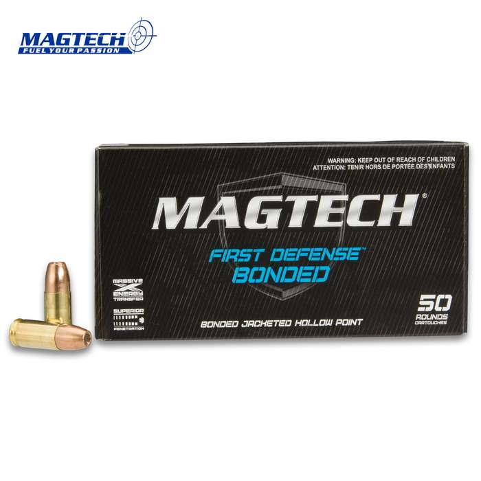 Magtech 9mm / 147gr Luger Bonded Jacketed Hollow Point (JHP) Ammunition - Box of 50 Rounds - Military / Law Enforcement / Competition Grade - Self Defense and More