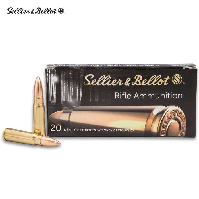 Sellier & Bellot 7.62 X 39 Full Metal Jacket Rifle Rounds - 20-Count - Brass Case Boxer Primed, Reliable Powder Ignition, Non-Corrosive Primers