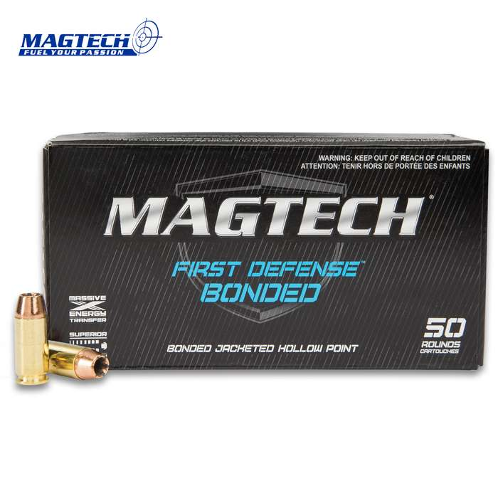 Magtech .40 Caliber / 180gr Smith & Wesson (S&W) Bonded Jacketed Hollow Point (JHP) Ammunition - Box of 50 Rounds - Military / Law Enforcement / Competition Grade - Self Defense and More