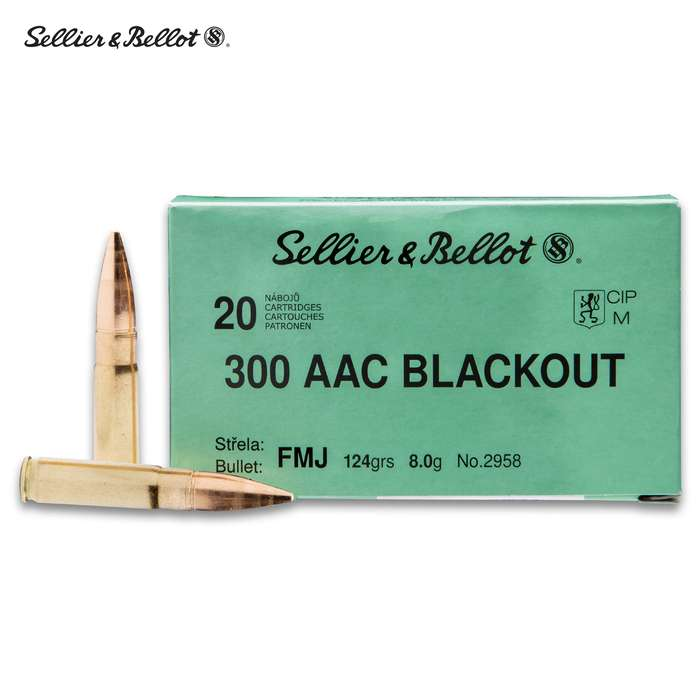 Sellier & Bellot 300 Blackout 124 Full Metal Jacket - 20-Count - Brass Case Boxer Primed, Reliable Powder Ignition, Non-Corrosive Primers