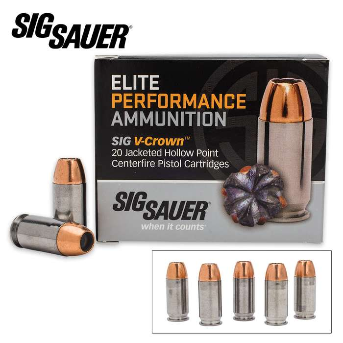 SIG Sauer Elite V-Crown .45 Auto Colt Pistol 185gr JHP Ammo - Box of 20
