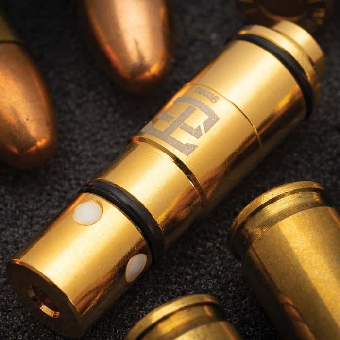 Laser Training 9MM Cartridge - Brass Construction, Rimless Design, Rubber Primer, Calibrated Red Laser Module