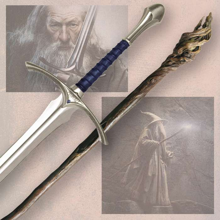 The Hobbit Gandalf Staff and Glamdring Sword Collectors Combo