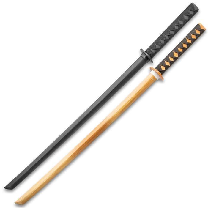 "Practice Training Katana Set - Two Bokkens, Hardwood Construction, Cord-Wrapped Handles, Two-Piece Handguards - Length 40"""