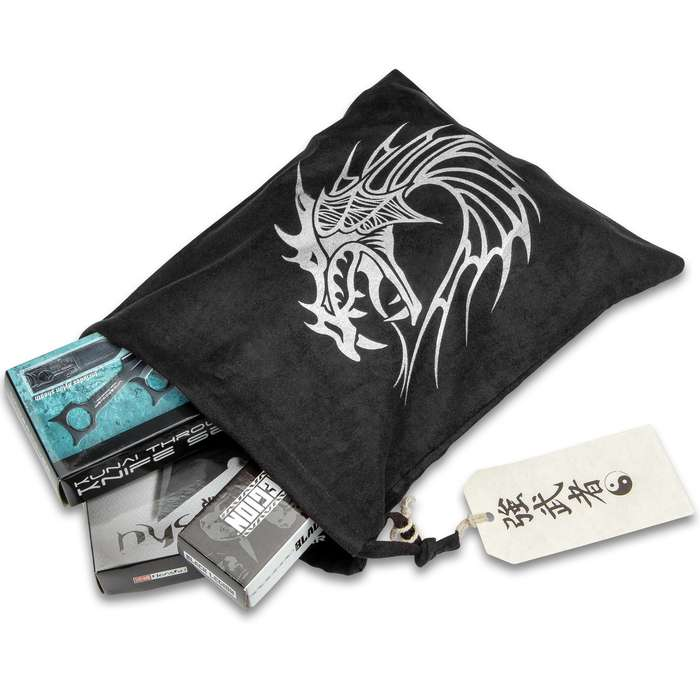 "Dragon Gift Bag With Hanger Tag - Black Velveteen Construction, Drawstring Closure, Printed Artwork - Dimensions 11 1/2""x 9 1/2"""