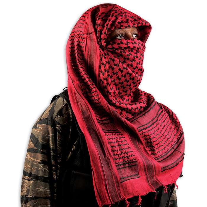 Red & Black Tactical Shemagh Head Wrap Mask Airsoft