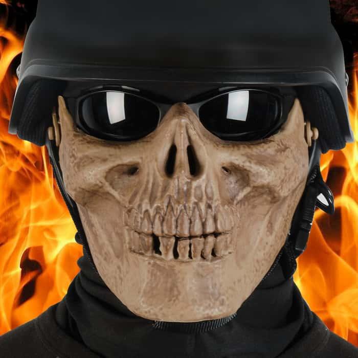 Military Skeletal Soldier Half Face Mask Bone