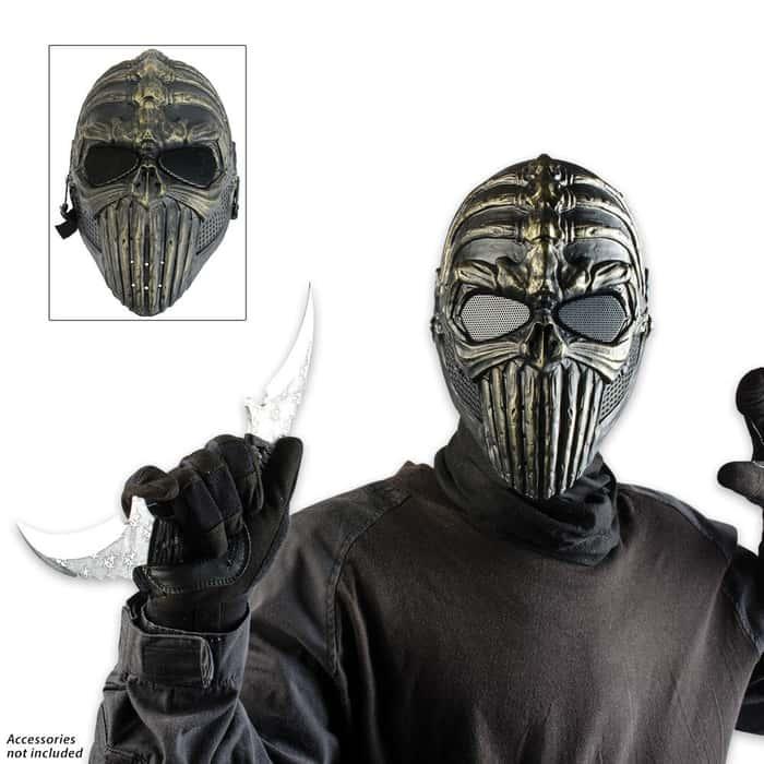 ABS Tribal Warrior Skeletal Facemask Bronze