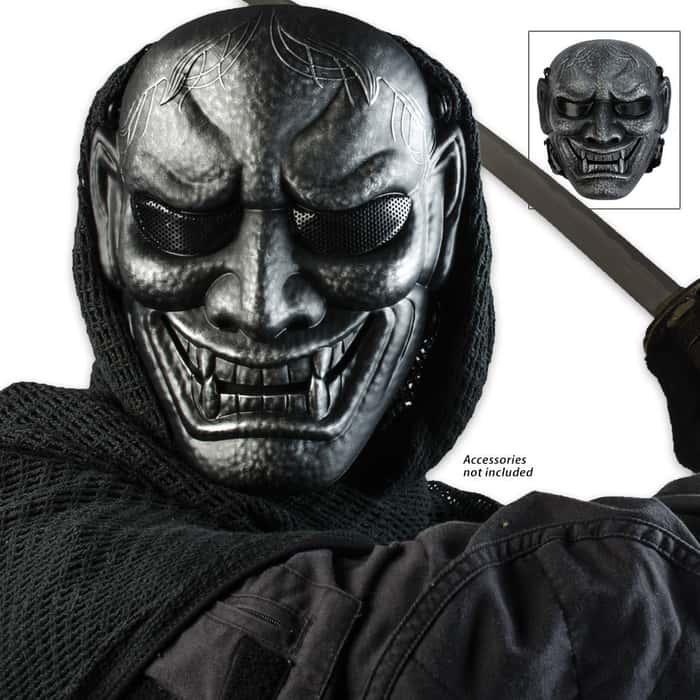ABS Samurai Warrior Skeletal Facemask Silver & Black