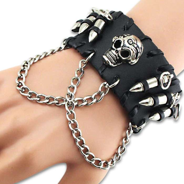 """Hardcore Skull Cuff Bracelet With Bullets - Made Of Leather, Stainless Steel Accents, Snap Closure - Length 9""""x 1 1/2"""""""
