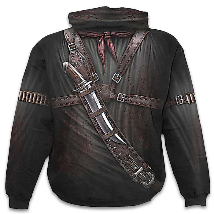 Black Holster Wrap Hoodie - Cotton Fleece, Vivid All-Over Artwork Extends Up Into Hood, Azo-free Reactive Dyes